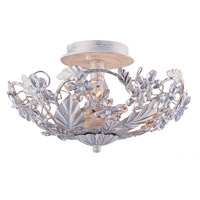 Crystorama Abbie 3 Light Semi-Flush Mount in Antique White with Hand Polished Crystals 5305-AW