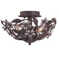 Crystorama Abbie 3 Light Semi-Flush Mount in Dark Rust with Hand Polished Crystals 5305-DR