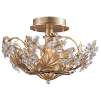 Crystorama Abbie 3 Light Semi-Flush Mount in Gold Leaf with Hand Polished Crystals 5305-GL