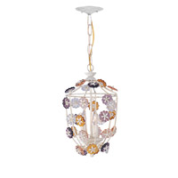 Crystorama Retro 3 Light Pendant in Antique White with Hand Polished Crystals 5313-AW