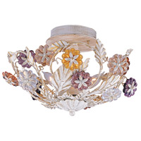 Crystorama Retro 3 Light Semi-Flush Mount in Antique White with Hand Polished Crystals 5315-AW