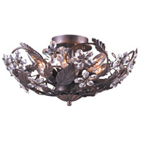Crystorama Abbie 6 Light Semi-Flush Mount in Dark Rust with Hand Polished Crystals 5316-DR