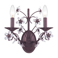 Crystorama 5402-DR Paris Market 2 Light 12 inch Dark Rust Wall Sconce Wall Light in Hand Cut, Dark Rust (DR)