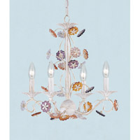 Crystorama Retro 4 Light Mini Chandelier in Antique White, Hand Cut 5414-AW