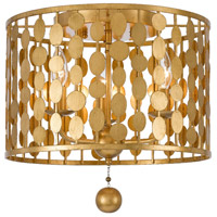 Layla 3 Light 15 inch Antique Gold Flush Mount Ceiling Light in Antique Gold (GA)