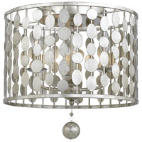 Crystorama 544-SA Layla 3 Light 15 inch Antique Silver Flush Mount Ceiling Light in Antique Silver (SA)