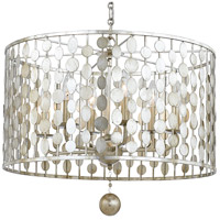Crystorama 546-SA Layla 6 Light 19 inch Antique Silver Chandelier Ceiling Light in Antique Silver (SA)