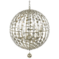 Crystorama 547-SA Layla 6 Light 22 inch Antique Silver Chandelier Ceiling Light in Antique Silver (SA)