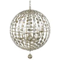 Crystorama 547-SA Layla 6 Light 22 inch Antique Silver Chandelier Ceiling Light in Antique Silver (SA)