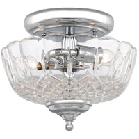 Crystorama 55-SF-CH Signature 2 Light 9 inch Polished Chrome Semi Flush Mount Ceiling Light