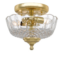 Signature 2 Light 9 inch Polished Brass Semi Flush Mount Ceiling Light