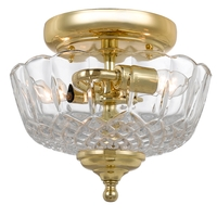 Signature 2 Light 9 inch Polished Brass Semi Flush Mount Ceiling Light in Polished Brass (PB)