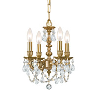 Crystorama 5504-AG-CL-S Gramercy 4 Light 11 inch Aged Brass Mini Chandelier Ceiling Light in Aged Brass (AG), Clear Swarovski Strass