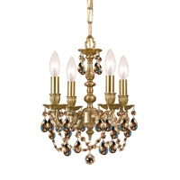 Crystorama Gramercy 4 Light Mini Chandelier in Aged Brass, Golden Teak, Hand Cut 5504-AG-GT-MWP