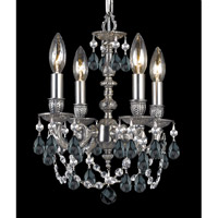 Crystorama 5504-PW-BK-MWP Signature 4 Light 11 inch Pewter Chandelier Ceiling Light in Black (BK), Hand Cut, Pewter (PW)