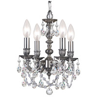 Crystorama 5504-PW-CL-SAQ Gramercy 4 Light 11 inch Pewter Mini Chandelier Ceiling Light in Swarovski Spectra (SAQ), Pewter (PW)