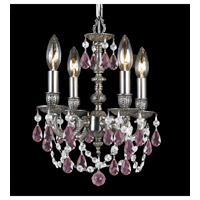 Gramercy 4 Light 11 inch Pewter Mini Chandelier Ceiling Light in Rose Colored (RO), Hand Cut, Pewter (PW)