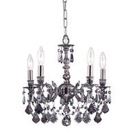 Crystorama 5504-PW-SS-MWP Gramercy 4 Light 11 inch Pewter Mini Chandelier Ceiling Light in Pewter (PW), Silver Shade Hand Cut