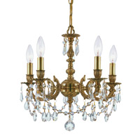 Crystorama Mirabella 5 Light Mini Chandelier in Aged Brass 5505-AG-CL-S