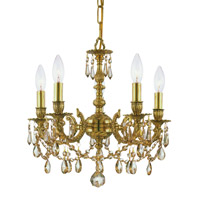 Crystorama Lighting Mirabella 5 Light Mini Chandelier in Olde Brass & Hand Cut Golden Teak Crystal 5505-OB-GT-MWP photo thumbnail