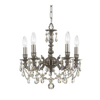 Crystorama Mirabella 5 Light Mini Chandelier in Pewter, Clear Crystal, Swarovski Spectra 5505-PW-CL-SAQ photo thumbnail
