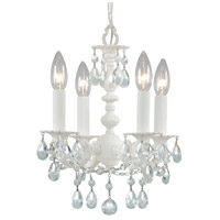 Crystorama Paris Flea Market 4 Light Mini Chandelier in Wet White with Hand Cut Crystals 5514-WW-CL-MWP