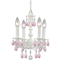 Crystorama Paris Market 4 Light Mini Chandelier in Wet White, Rose Colored 5514-WW-RO-MWP
