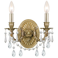 Crystorama Gramercy 2 Light Wall Sconce in Aged Brass with Swarovski Elements Crystals 5522-AG-CL-S