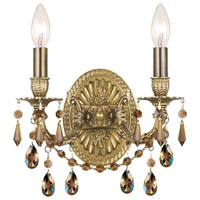 Crystorama 5522-AG-GT-MWP Gramercy 2 Light 11 inch Aged Brass Wall Sconce Wall Light in Golden Teak (GT), Hand Cut, Aged Brass (AG) photo thumbnail