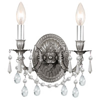 Crystorama 5522-PW-CL-MWP Gramercy 2 Light 11 inch Pewter Wall Sconce Wall Light in Pewter (PW), Clear Hand Cut