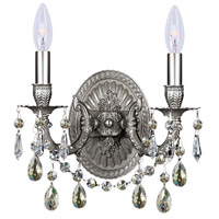 Signature 2 Light 11 inch Pewter Wall Sconce Wall Light in Silver Shade (SS), Swarovski Elements (S), Aged Brass (AG)