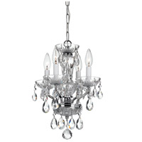 Crystorama Traditional Crystal 4 Light Mini Chandelier in Chrome, Italian Crystals 5534-CH-CL-I
