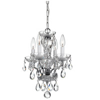 Crystorama 5534-CH-CL-S Traditional Crystal 4 Light 11 inch Chrome Chandelier Ceiling Light in Chrome (CH), Clear Swarovski Strass