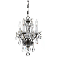 Traditional Crystal 4 Light 11 inch English Bronze Mini Chandelier Ceiling Light in English Bronze (EB), Italian Crystals (I)