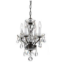 Traditional Crystal 4 Light 11 inch English Bronze Mini Chandelier Ceiling Light in Hand Cut, English Bronze (EB)