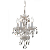 Traditional Crystal 4 Light 11 inch Wet White Mini Chandelier Ceiling Light in Wet White (WW), Clear Italian
