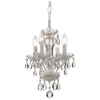 Traditional Crystal 4 Light 11 inch Wet White Mini Chandelier Ceiling Light in Wet White (WW), Clear Swarovski Strass