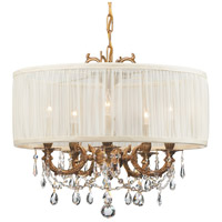 Crystorama 5535-AG-SAW-CLM Gramercy 5 Light 20 inch Aged Brass Mini Chandelier Ceiling Light in Aged Brass (AG), Pleated Antique White (SAW), Clear Hand Cut