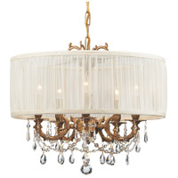 Gramercy 5 Light 20 inch Aged Brass Mini Chandelier Ceiling Light in Aged Brass (AG), Swarovski Spectra (SAQ), Pleated Antique White (SAW)