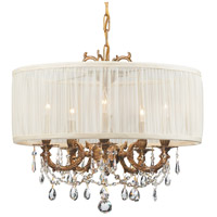 Crystorama 5535-AG-SAW-CLS Gramercy 5 Light 20 inch Aged Brass Mini Chandelier Ceiling Light in Aged Brass (AG), Pleated Antique White (SAW), Clear Swarovski Strass