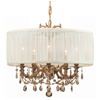 Gramercy 5 Light 20 inch Aged Brass Chandelier Ceiling Light in Golden Teak (GT), Swarovski Elements (S), Aged Brass (AG), Pleated Antique White (SAW)
