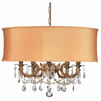 Crystorama Gramercy 5 Light Chandelier in Aged Brass, Clear Crystal, Hand Cut, Harvest Gold 5535-AG-SHG-CLM