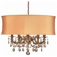 Crystorama 5535-AG-SHG-GTS Gramercy 5 Light 20 inch Aged Brass Mini Chandelier Ceiling Light