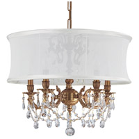 Gramercy 5 Light 20 inch Aged Brass Mini Chandelier Ceiling Light in Aged Brass (AG), Clear Swarovski Strass, Smooth Antique White
