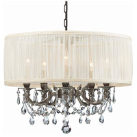 Crystorama 5535-PW-SAW-CLM Gramercy 5 Light 20 inch Pewter Mini Chandelier Ceiling Light in Pewter (PW), Pleated Antique White (SAW), Clear Hand Cut