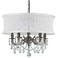Crystorama 5535-PW-SMW-CLQ Gramercy 5 Light 20 inch Pewter Mini Chandelier Ceiling Light in Swarovski Spectra (SAQ), Pewter (PW), Smooth Antique White