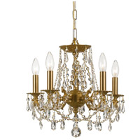 Crystorama 5545-AG-CL-SAQ Gramercy 5 Light 15 inch Aged Brass Mini Chandelier Ceiling Light in Swarovski Spectra (SAQ), Aged Brass (AG)
