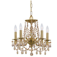 Gramercy 5 Light 15 inch Aged Brass Mini Chandelier Ceiling Light in Golden Teak (GT), Hand Cut, Aged Brass (AG)