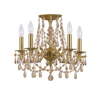 Crystorama Mirabella 5 Light Flush Mount in Aged Brass with Hand Cut Crystals 5545-AG-GT-MWP_FLUSH