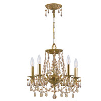 Crystorama 5545-AG-GTS Gramercy 5 Light 15 inch Aged Brass Mini Chandelier Ceiling Light in Aged Brass (AG), Golden Teak Swarovski